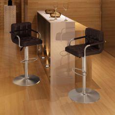 Barové stoličky 2 ks, hnedé, umelá koža