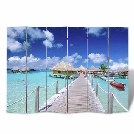 Składany parawan, 240x170 cm, motyw plaży