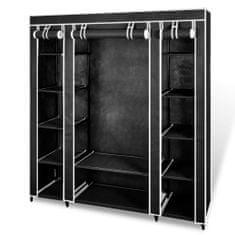shumee Látková šatní skříň s přihrádkami a tyčemi 45x150x176 cm černá