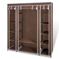 shumee Látková šatní skříň s přihrádkami a tyčemi 45x150x176 cm hnědá