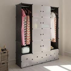 shumee Modulární skříň s 18 přihrádkami černobílá 37 x 146 x 180,5 cm