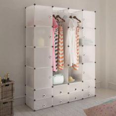 shumee Modulárna skrinka s 18 priečinkami, biela 37x146x180,5 cm