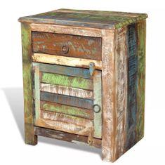 shumee egyajtós, egyfiókos újrahasznosított fa kisasztal