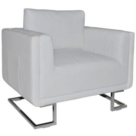 shumee fehér kocka alakú krómlábas műbőr fotel