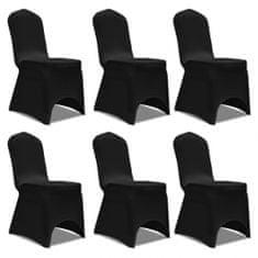 shumee Czarne elastyczne pokrowce na krzesła, 6 sztuk