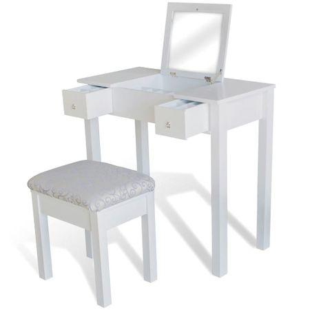 shumee fehér fésülködőasztal 1 felnyitható tükörrel és zsámollyal