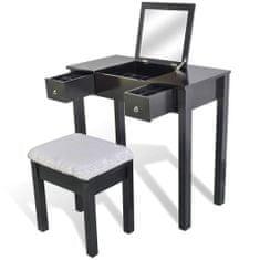 shumee Toaletní stolek se stoličkou a 1 vyklápěcím zrcadlem černý
