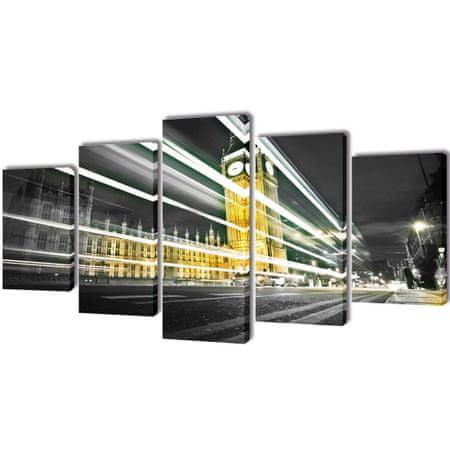 shumee Zestaw obrazów na płótnie, Londyński Big Ben, 100x50 cm