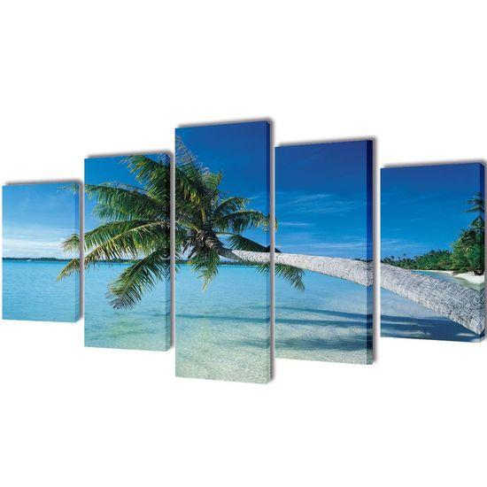 Sada obrazov na stenu, motív Piesočnatá pláž s palmou 200 x 100 cm