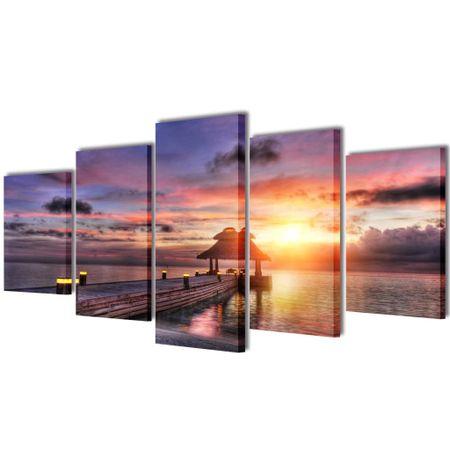 shumee Nyomtatott vászon falikép szett tengerpart pavilonnal 200 x 100 cm