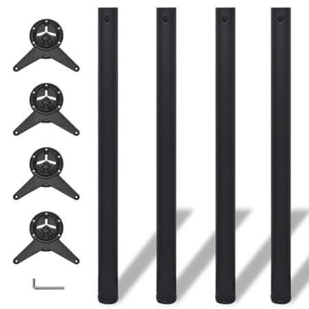 slomart 4 x Noge za Mizo Nastavljiva Višina Črne Barve 870 mm