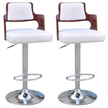 slomart Barski stolčki 2 kosa belo umetno usnje