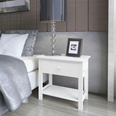 shumee Noční stolek dřevěný bílý