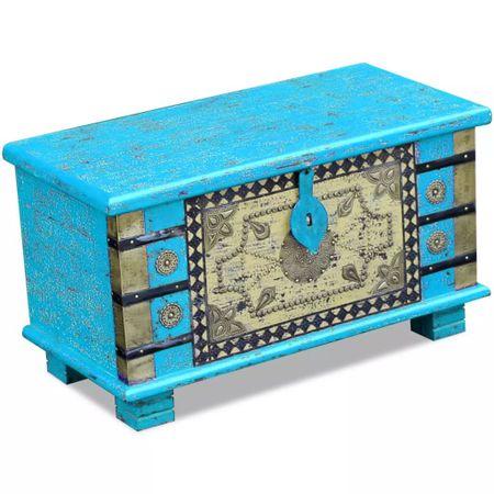 shumee Skrinja za Shranjevanje Modra iz Lesa Manga 80x40x45 cm