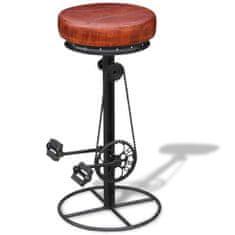 Barová stolička, čierno hnedá, pravá koža
