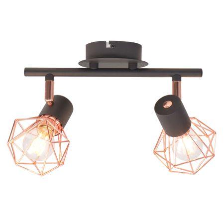 shumee Stropna svetilka z 2 reflektorjema E14 črne in bakrene barve