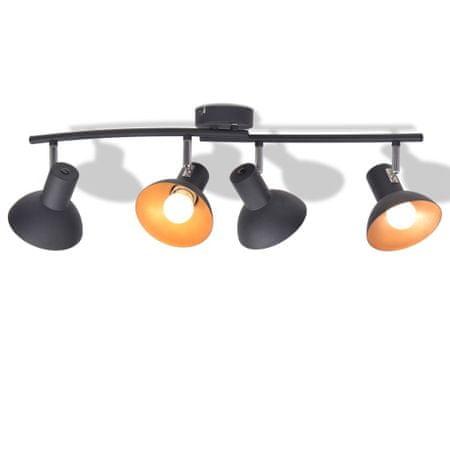shumee Stropna svetilka za 4 žarnice E27 črne in zlate barve