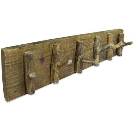 slomart Obešalnik za plašče iz trdnega predelanega lesa 60x15 cm
