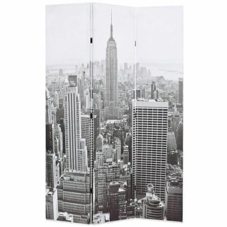 shumee Zložljiv paravan 120x170 cm New York podnevi črn in bel