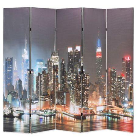 slomart Zložljiv paravan 200x170 cm New York ponoči