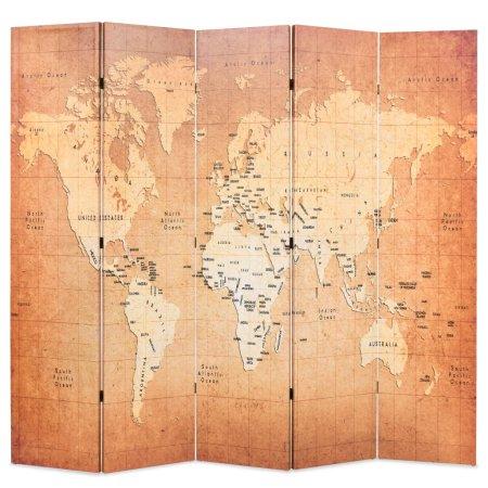 shumee Zložljiv paravan 200x170 cm zemljevid sveta rumen