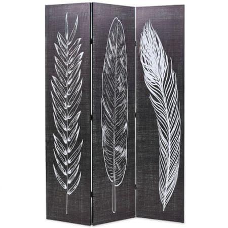 shumee Zložljiv paravan 120x170 cm perje črn in bel