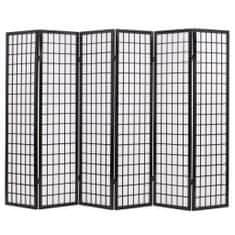 Skladací paraván so 6 panelmi, japonský štýl 240x170 cm, čierny