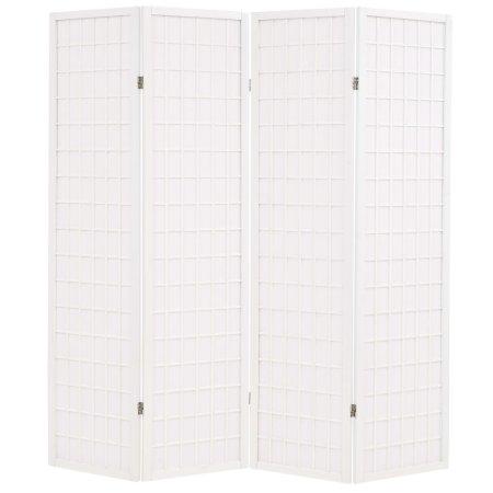 shumee Zložljiv 4-delni paravan japonski stil 160x170 cm bele barve