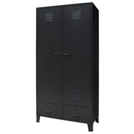 shumee ipari stílusú fekete fém ruhásszekrény 90 x 40 x 180 cm