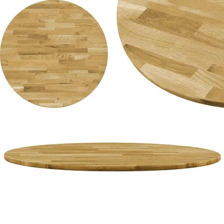 slomart Površina za mizo trden hrastov les okrogla 23 mm 700 mm