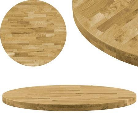 slomart Površina za mizo trden hrastov les okrogla 44 mm 700 mm