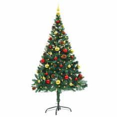Umělý vánoční stromek ozdobený s baňkami a LED 150 cm zelený