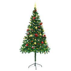 Umelý vianočný stromček s ozdobami a LED diódami 180 cm zelený