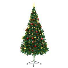 Umelý vianočný stromček s ozdobami a LED diódami 210 cm zelený