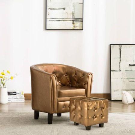 slomart Tubast stol s stolčkom za noge iz rjavega umetnega usnja