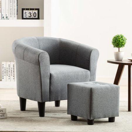 slomart Naslanjač in stolček 2-delni komplet svetlo sivo blago