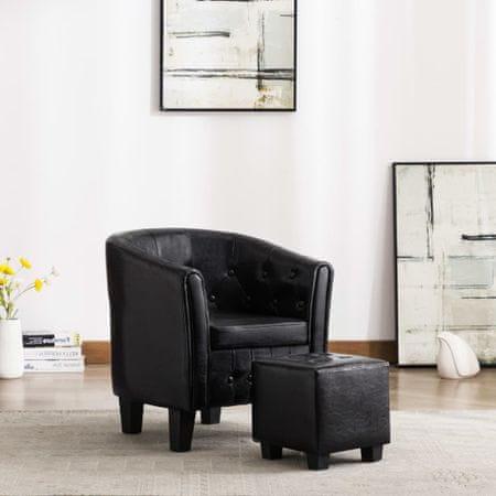 shumee Tubast stol s stolčkom za noge iz črnega umetnega usnja