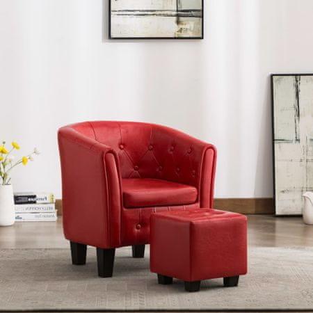shumee Tubast stol s stolčkom za noge iz rdečega umetnega usnja