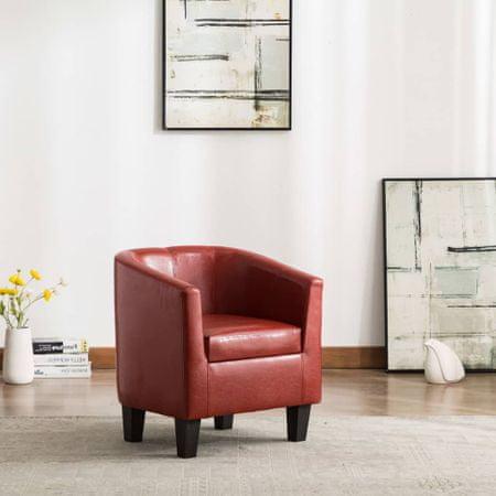 slomart Tubast stol iz vinsko rdečega umetnega usnja