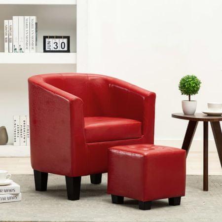 shumee piros műbőr fotel lábzsámollyal