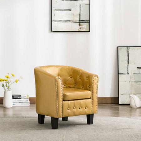 slomart Tubast stol iz svetlečega zlatega umetnega usnja