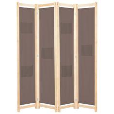 4-panelový paraván hnedý 160x170x4 cm látkový