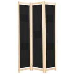 3-panelový paraván čierny 120x170x4 cm látkový