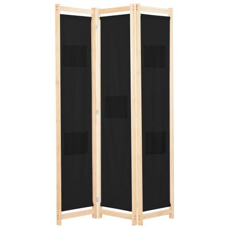 Parawan 3-panelowy, czarny, 120x170x4 cm, tkanina