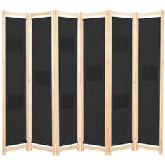 6-panelový paraván čierny 240x170x4 cm látkový