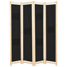 4-panelový paraván čierny 160x170x4 cm látkový