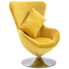 shumee Otočná stolička v tvare vajca s vankúšom žltá zamatová