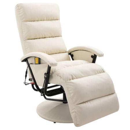 shumee krémszínű és fehér dönthető masszírozó műbőr TV-fotel