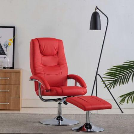 shumee piros dönthető műbőr fotel lábzsámollyal