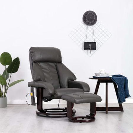 Telewizyjny fotel masujący, regulowany, szary, ekoskóra
